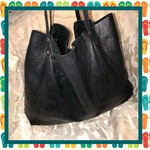 American Apparel Black Leather Tote GOOD CONDITION